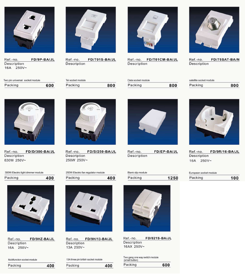 FD New Series Electric Wall Switch and Socket Functional Parts with Fluorescent Light