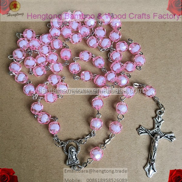 pink rosary necklace, catholic rosary, religious rosary with 8mm plastic facet bead and virgin mary as rosary center