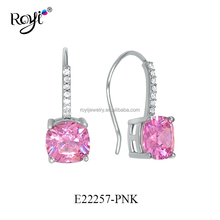 2016 Latest 925 Sterling Silver Pink Colorful Earring, Amazon Wholesale Earrings Provider