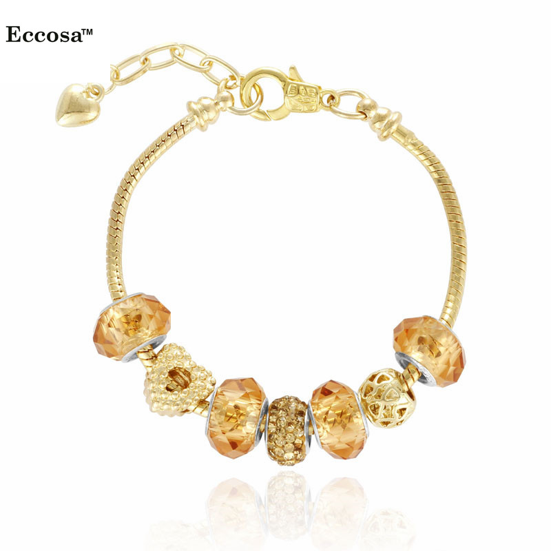 ally express wholesale bracelet Promotion 14 <strong>K</strong> Gold Charm bracelet for Women Fashion Beads Retro Jewelry