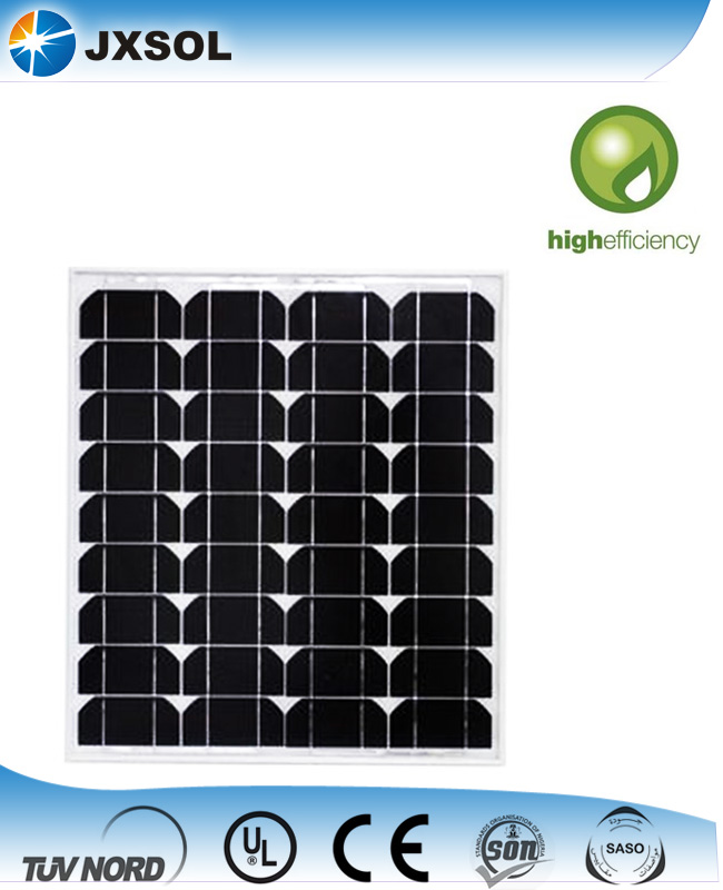 High efficiency monocrystalline photovoltaic cell solar panels 50 watt with TUV and CE certificates