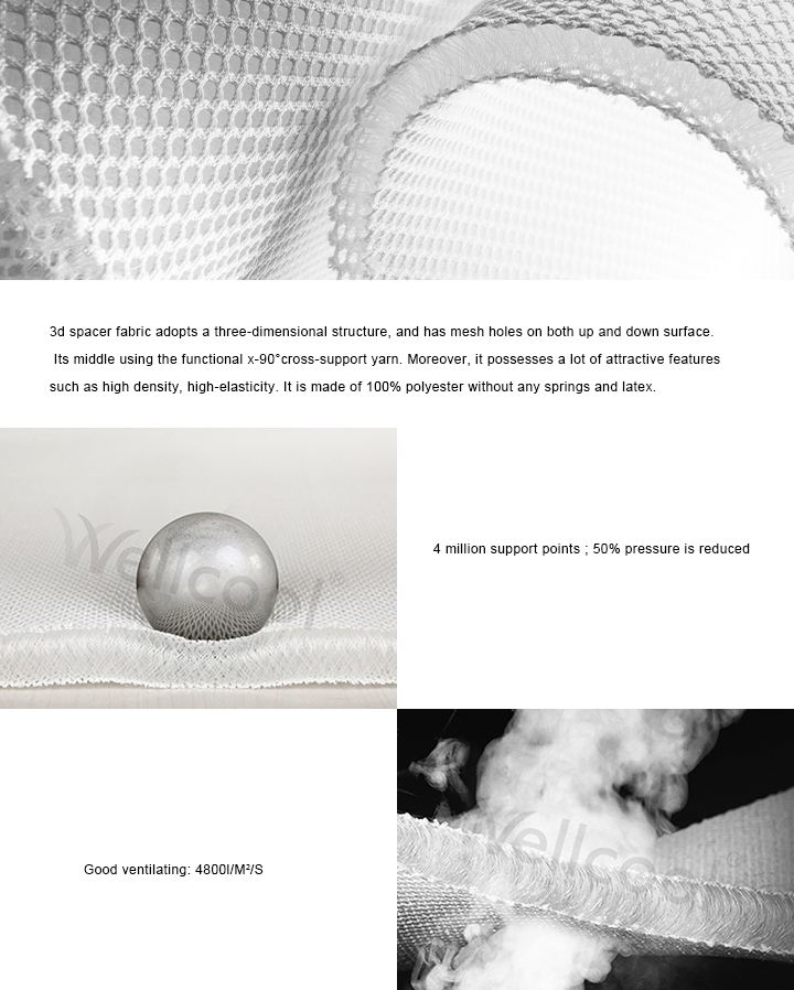 warp knit 100% polyester fabric mesh for mattress and topper