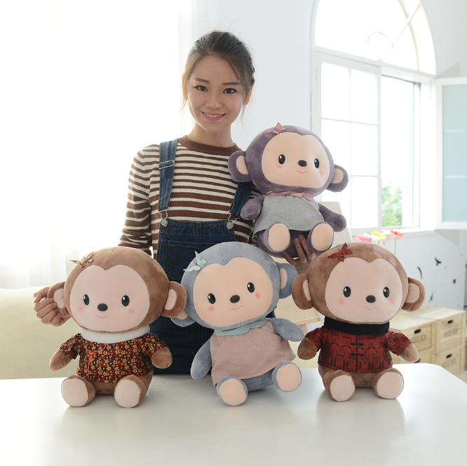 Soft touch round head monkey toy with clothes as plush toys