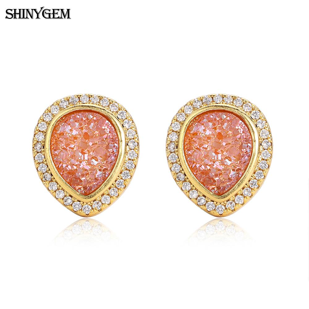 Mirco pave cz gold plated copper fashion natural druzy stone piercing statement stud earrings jewelry for women