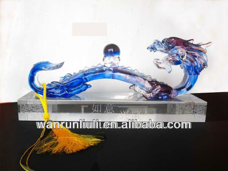 Chinese Fengshui lead Crystal/liuli dragon Ruyi as new year business gift use for home or office Decor
