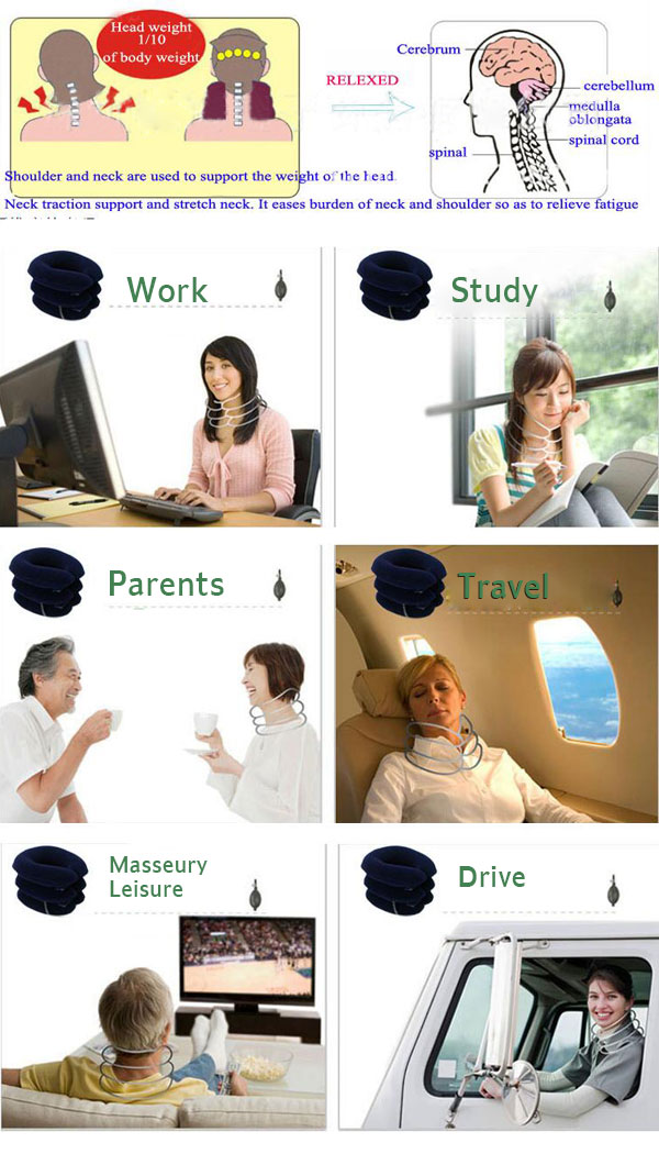 Adjustable Pain Relief Travel Support Pillow Air Inflatable Cervical Neck Traction Device