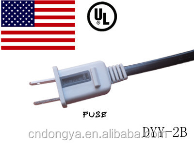 Power plug with fuse ul approved American 2 flat pin plug