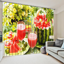 Cool watermelon juice pattern digital print realistic modern 3d curtains for living room