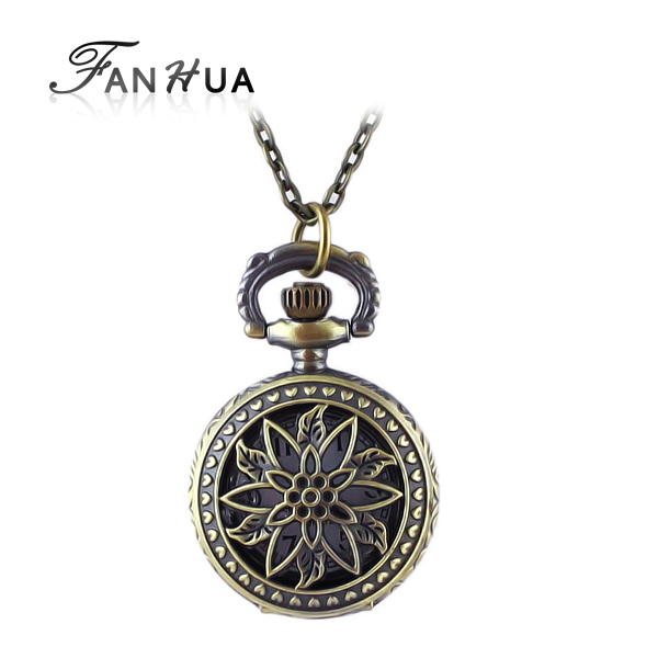 Fashion design Small Size hollow-out leaf and flower design openable vintage pendant watch statement necklace