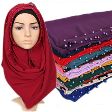20 colors in stock hot arab hijab 2017 long style shawl hijab muslim solid plain pearl bubble chiffon hijab scarf