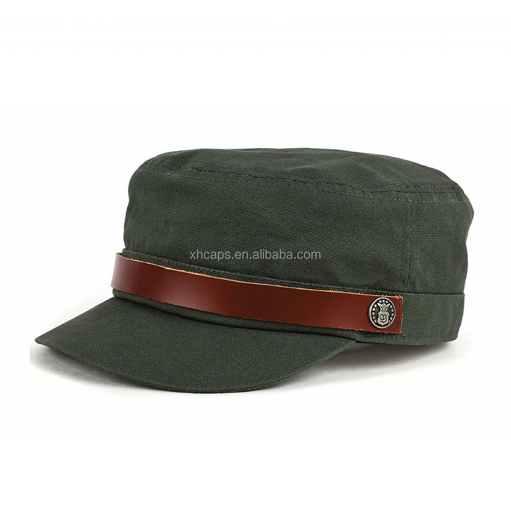 fashion military caps with leather strap