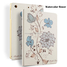 Color Printing Folio Stand PU Leather Case for iPad, Smart Flip Cover Case for iPad2 3 4 (Watercolor Flower)