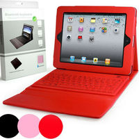 for IPad cover with Bluetooth Wireless Keypad WHITE leather case with keyboard