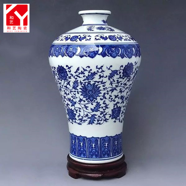 Antique home decor blue and white small porcelain vase