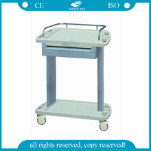 ABS material two layers special design multi-purpose tray medical trolley
