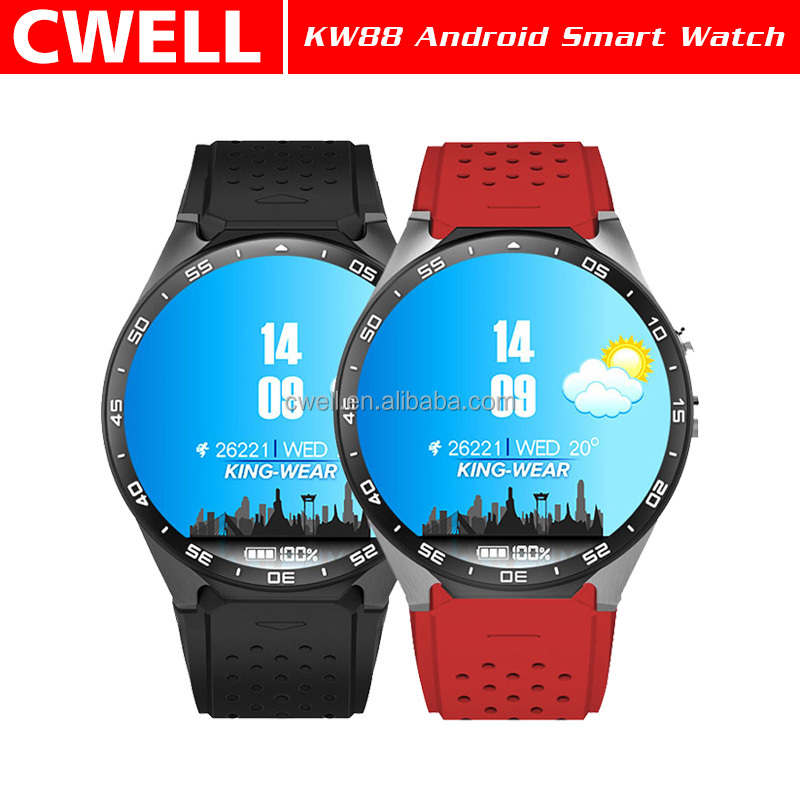 KW88 Single SIM Card WiFi GPS 1.39'' Round Screen Smart Android Hand Watch Mobile Phone