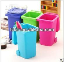 Plastic Mini Trash Can Style Desktop bin Storage Case w/ Cover for Small Gadgets - Green