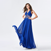 Chaozhou Sleeveless Floor Length Beaded Royal Blue Sex Prom Dress