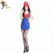 Women Simple Game Cosplay Mario Carnival Party Costume