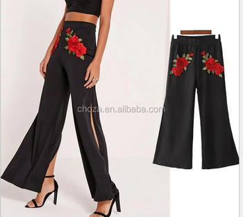 C68919 new arrival printed high waist wide leg pants for women