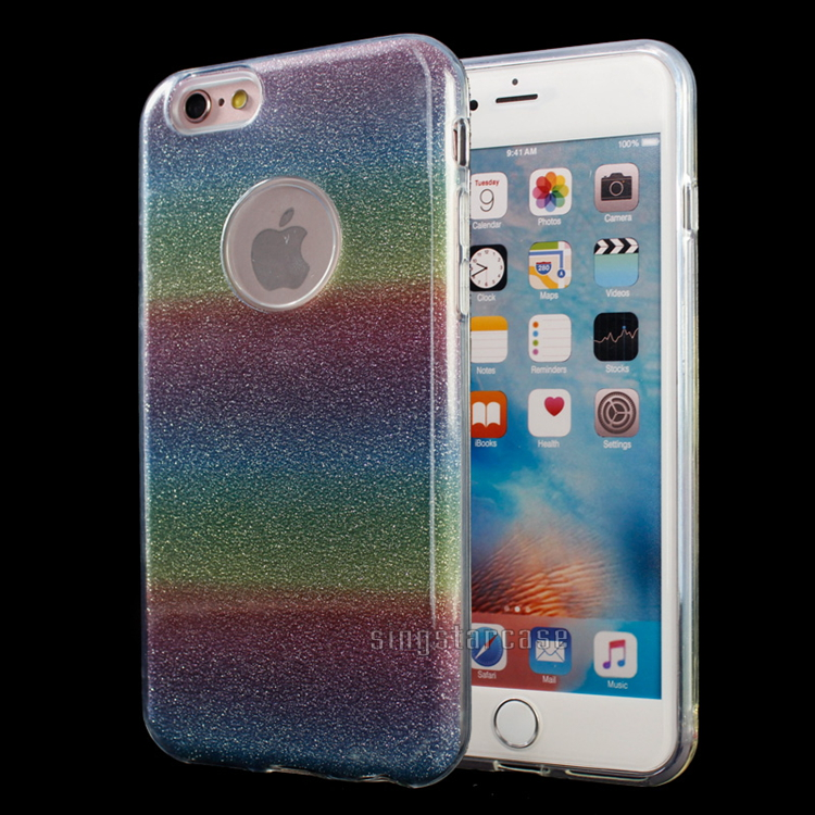 Fashion colorful three color gradual change tpu pp hybrid phone case for iphone 6 glitter case