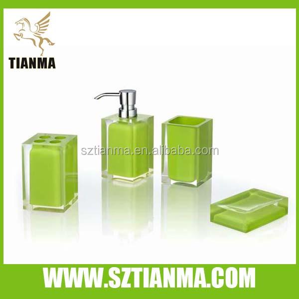 Apple vert acrylique salle de bains accessoires set for Accessoire de salle de bain vert