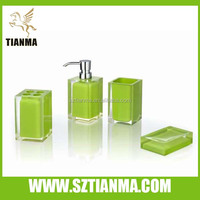 Apple green acrylic bathroom accessories set / shenzhen factory
