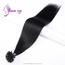 0.5g Jet black #1U tip hair Extensions Silky straight weave Brazilian hair