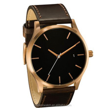 New Design Stainless steel Black Dial Brown Leather Strap Wristwatch With Japan Miyota Quartz Movt,Simplistic Men Watches With D