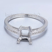 Engagement Setting Ring Princess Cut 6mm Solid 14Kt White Gold With Real Diamond Semi Mount Ring Wholesale SR0024