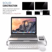High quality aluminium desktop pc laptop computer monitor riser stand keyboard storage organizer