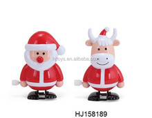 christmas kids gift plastic Santa claus and deer wind up walking toys