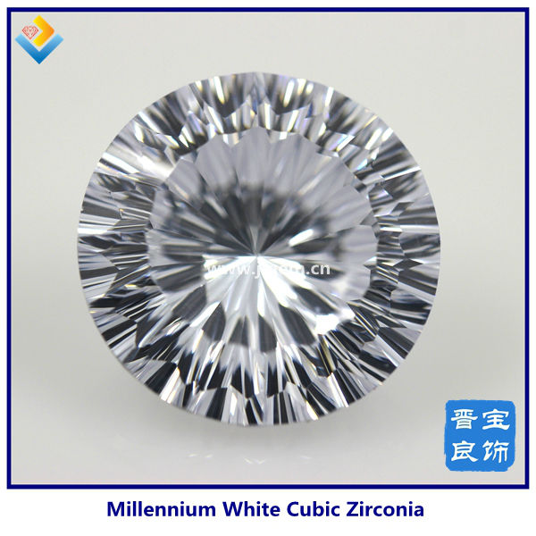 Synthetic White Round Diamond Cut Millennium CZ/Cubic Zirconia Gemstone For Sale