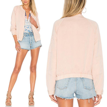 Guangzhou wholesale pink women varsity bomber jacket for autumn