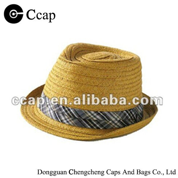 2015 Wholesale natural braid fedora straw hats
