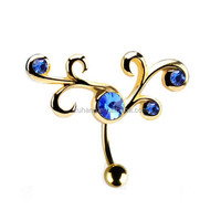 14G Gold Plated Top Down Jeweled Tribal Belly Button Rings