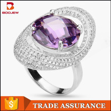 fashionable high quality look high- end elegant amethyst 925 sterling silver women ring