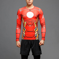 Wholesale Avengers Super Hero Iron Man Clothes Short Sleeve 3D Printing Man's Sport t shirt
