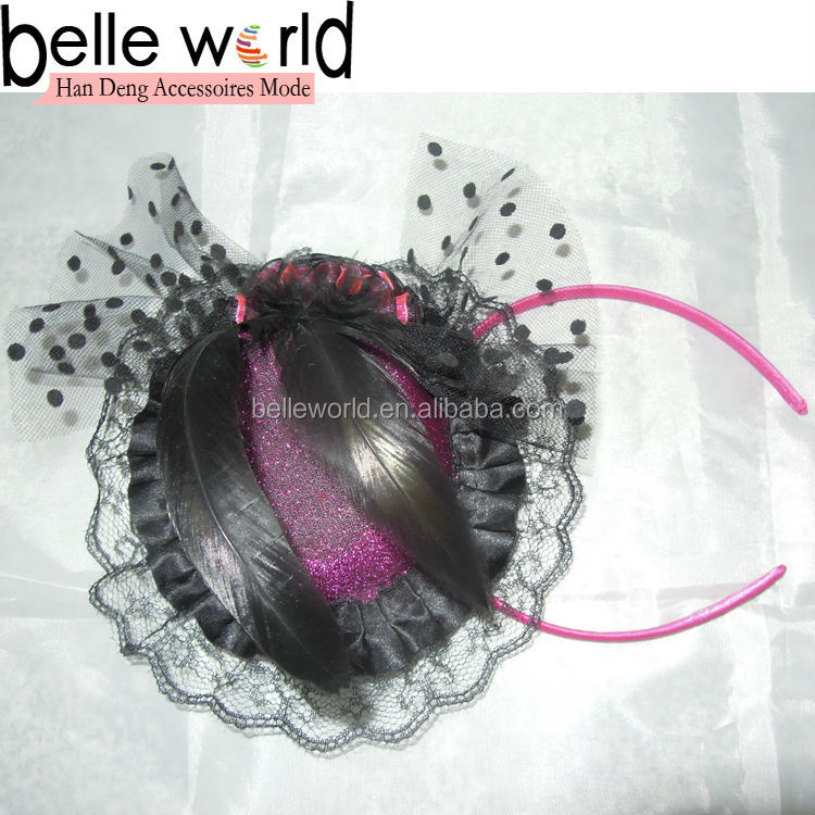 Fashion Fascinator Feather Glitter Hat For Alice Band