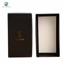 Wholesale Custom design logo Black cardboard paper box with clear gold foil