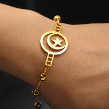 stainless steel middle east moon star muslim bracelet for man and woman