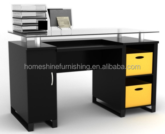glass top office table computer desk with file cabinet