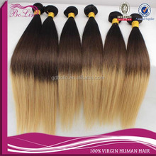 Factory price Top Quality Beauty straight can make any texture hair extension 1B/#4/#27 three tone color ombre hair bundles