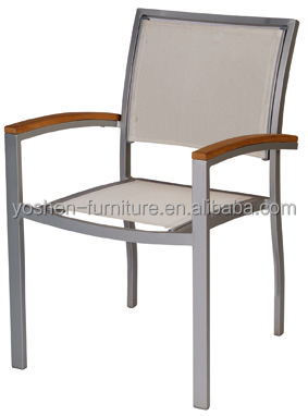 Outdoor garden aluminium stacking chair with sling texline fabric