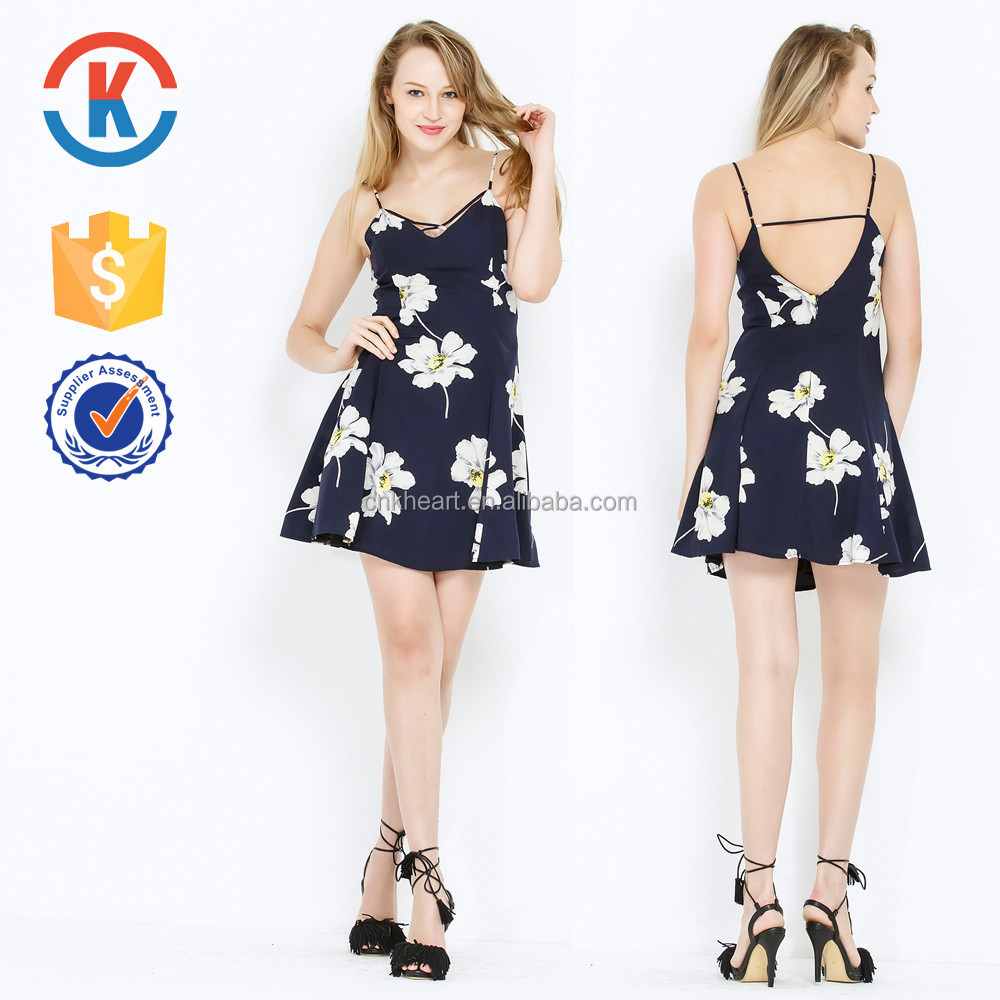 New style blue colour flower flutter dress