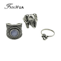 3 Pcs/Set Indian Silver Design Elephant Shape Big Finger Rings Set