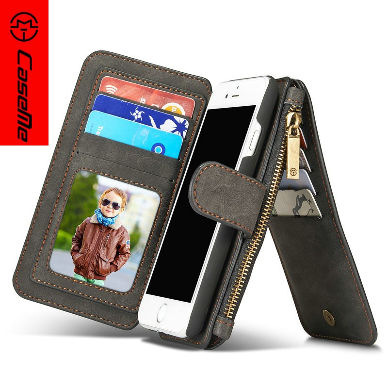 Detachable magnet leather Wallet Case for iPhone 7 plus