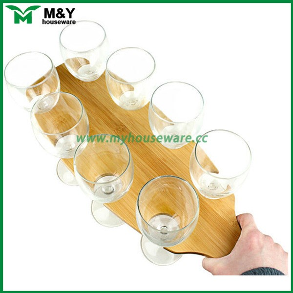 bamboo wood beer wine cup holder for waiter, wine transfer serving tray with 8 slot