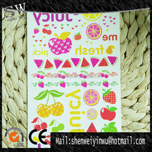 Many different fruit fluorescent temporary tattoo