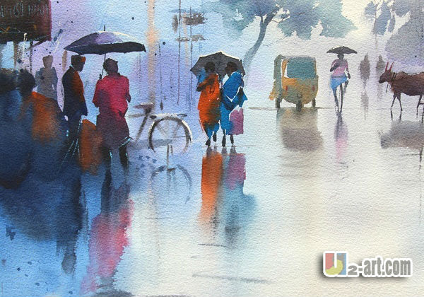Wholesale home decoration landscape painting watercolor